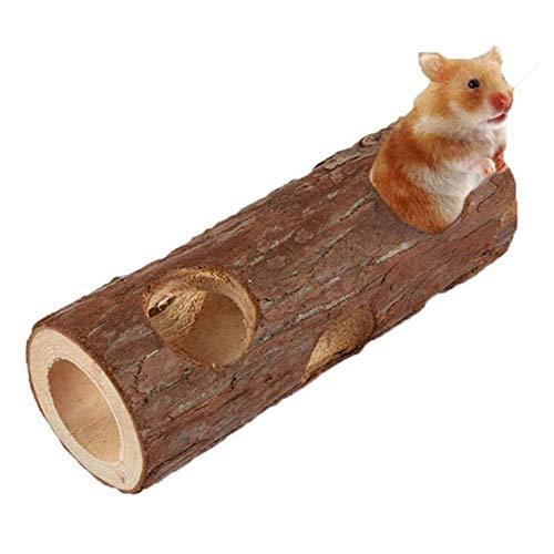 didatecar Hamster Tunnel Natürliches Holztunnel Tube Kauspielzeug für Haustiere, Hamster, Ratten, Rennmäuse, Chinchilla, Meerschweinchen, Eichhörnchen(15cm)