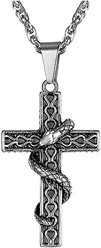 LBBYLFFF Collar con Cruz de Acero Inoxidable para Hombres con Collares con Colgante de Serpiente Collar Punk de Oro para Hombres Regalos de Joyería