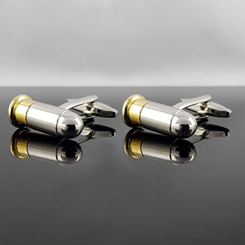 Herren Manschettenknöpfe Pistolen-kugel mit Geschenkbox - SILBER - Edelstahl - hochwertig stilvoll Klassiker Bullet Patrone Gewehrkugel Patronen-Hülse - deutscher Händler - MIND CARE ESSENTIALS