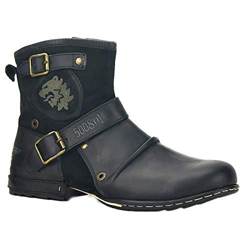 OSSTONE Botas para Moto Botines Hombre de Invierno Piel Zapatos Negras Vestir Nieve Piel Forradas Calientes Planas Combate Militares Cremallera Boots 5008-1