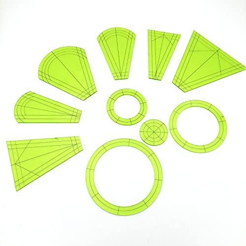 UTDKLPBXAQ Juego de 10 Plantillas de Placa de Dresde, Bloques de Placa de Dresde Regulares, Plantillas de pie de Regla, pétalos de Dresde para máquinas de Coser domésticas, Alfombrillas de Corte para