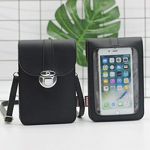 MTUPOC Mini-Handytasche, wasserdichte Handytasche aus PU-Leder mit klarem Touchscreen-Fenster auf der Rückseite (Schwarz)