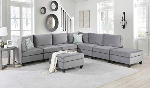 Zelmira Gray Velvet Fabric 8Pc Modular Reversible L Shape Corner Sectional Sofa Couch with Two Ottomans