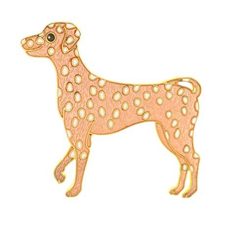 behave® Damen Broche Dalmatiner Hund aus Emaille - Hellbraun - 6cm Größe