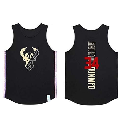 JUQI Milwaukee Bucks 34# Giannis Antetokounmpo Jersey, camiseta de baloncesto transpirable retro para hombre, camiseta de baloncesto bordada sin mangas (M-5XL) negro-XXXXL