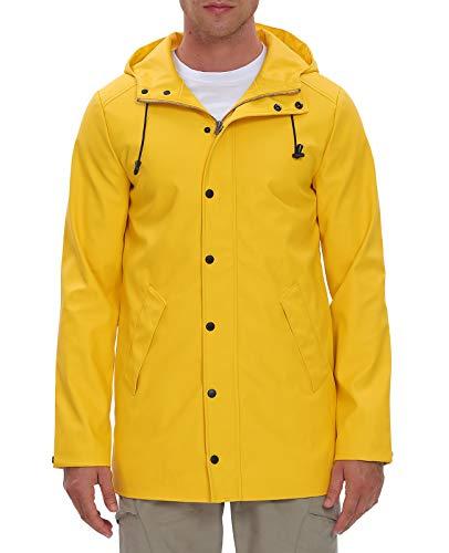 Fahsyee Raincoat Men, Hooded Waterproof Rain Coat Windproof Rain Jacket Mesh Linning Trench Outdoor Windbreaker Yellow, Size XL