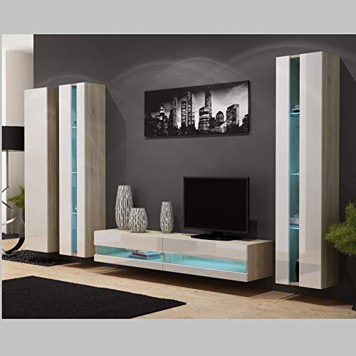 AZURA HOME DESIGN Tokio - Conjunto de TV (Roble), Color Blanco
