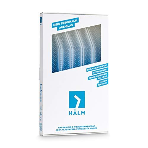 HÅLM Pajitas de Cristal Reutilizables – 4 Unidades curvadas de 30 ...