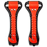 Car Safety Hammer Set of 2 Emergency Escape Tool Auto Car Window Glass Hammer Breaker and Seat Belt Cutter Escape 2-in-1 for Family Rescue & Auto Emergency Escape Tools (2 PCS)