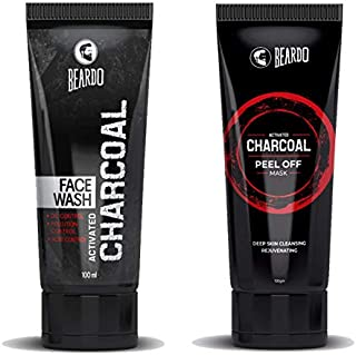 BEARDO Activated Charcoal Peel Off Mask and Charcoal Face Wash Combo, 100 g