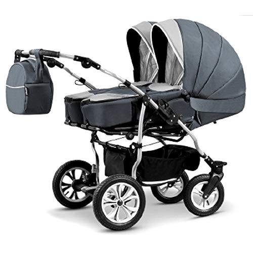 Carro gemelar 3 piezas. Capazos + sillas + grupo 0 + accesorios. Duet Lux BBtwin (gris + grafito)
