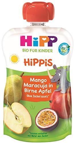 HiPP HiPPiS Quetschbeutel, Mango-Maracuja in Birne-Apfel, 100% Bio-Früchte ohne Zuckerzusatz, 6 x 100 g Beutel