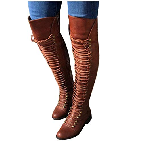 Dainzuy Women Military Lace Up Thigh High Combat Boots Classic Chunky Stacked Block Low Heel Over The Knee Boots Brown