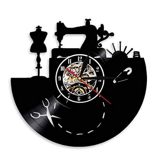 wangzhongjie Sewing Machine Wall Clock Art Sewing Design Vinyl Record Clock Gifts for Seamstress Tailors Fashion Store Craft Room Wall Decor
