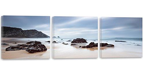 Feeby Frames, Cuadro en Lienzo 3 partes Panorámico Cuadro impresión Cuadro decoración Canvas 120x40 cm Rocas Agua Mar Paisaje Vista Azul Negro