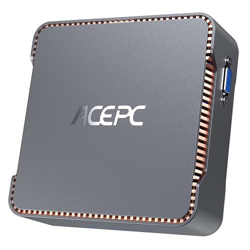 ACEPC Mini PC,8GB RAM + 256GB ROM,Intel Celeron J4125,Supporto 2.5'' SATA SSD/HDD, Windows 10 Pro(64-bit),Dual WiFi 2.4/5G,Bluetooth 4.2,4K HD,2 HDMI+1 VGA Porta,AK3 Mini Computer Desktop