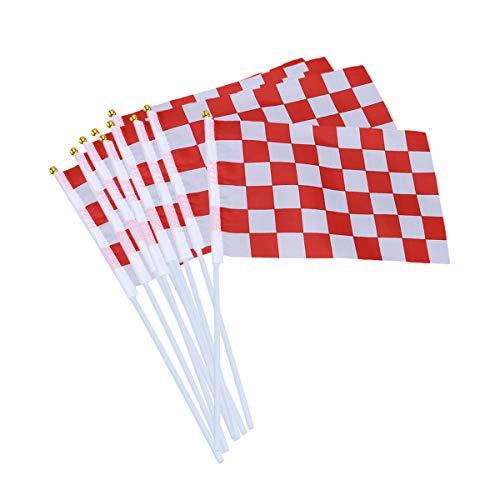 TOYANDONA 20 unids Checkered Racing Banderas con Stick Hand Held Car Banderas Race Car Party Decoraciones Suministros Festival Eventos Celebración (Negro + Rojo)