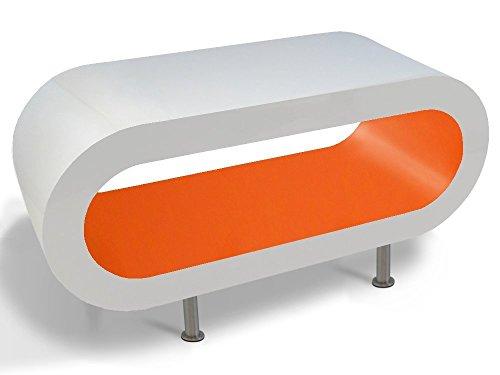 Zespoke Design Tableau Blanc et Orange Cerceau Café TV/Meuble en Différentes Tailles
