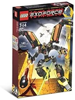 Lego Year 2007 Exo-Force Series Mecha Vehicle Figure Set # 8105 - IRON CONDOR with Mechanical Wings, Talons, Firing Missile Plus Devastator the Robot Pilot Minifigure and Special Web Code (Total Pieces: 141)