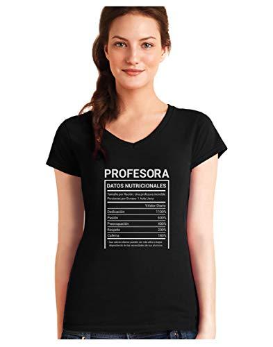 Green Turtle Camiseta de Cuello V para Mujer - Regalo para Profesores - Datos Nutricionales de Las Profesoras -