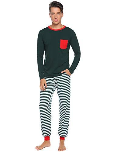Herren Schlafanzug Lang mit Bündchen Baumwolle Zweiteiliger Pyjama Set Rundhals Oberteil+Gestreift SchlafanzughoseGrün,M