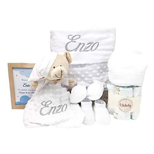 Bubble Dou dou de Mababy - Canastilla de regalos para Bebé con Manta Bebé y Dou dou personalizados - Cesta de Regalos para Recién Nacido (Blanco)