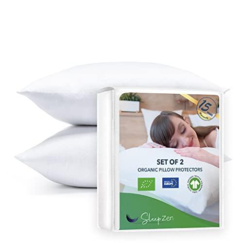 Protectores de almohada 65x65cm en algodón orgánico certificado GOTS, no impermeable, juego de 2, hecho en Europa, forro de algodón transpirable y absorbente, funda de almohada, cierre tipo so