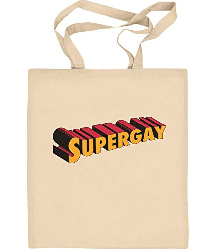 Supergay Gay Pride LGBT Outfit Jutebeutel Baumwolltasche One Size Natur