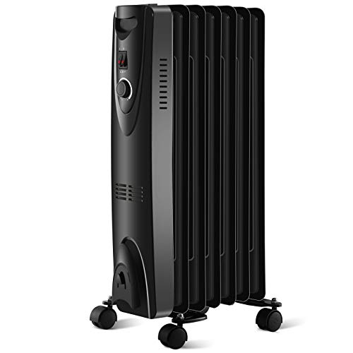 Antarctic Star Heater,1500W Portable Space Heater with Adjustable Thermostat,Safe Portable Heater for Indoor Use (13.1 IN, Black)