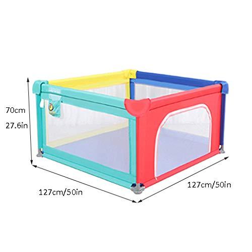 Vitila 16 sq ft RegenbogenfarbenMobiles Laufgitter mit Atmungsaktivem Netz,4 eckig Krabbelbox Baby für Kinderpark Laufstall Zaun Spielzentrum Tragbar