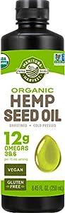 Manitoba Harvest Organic Hemp Oil, Cold Pressed, 12g of Omegas 3&6 Per Serving, Non-GMO, 8.45 Fl Oz