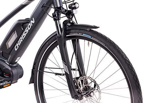 411oGe jhGL - CHRISSON 28 Zoll Damen Trekking- und City-E-Bike - E-Actourus anthrazit matt - Elektro Fahrrad Damen - 10 Gang Shimano Deore Schaltung - Pedelec mit Bosch Mittelmotor Performance Line 250W, 63Nm