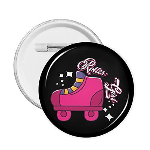 Pin redondo de la insignia de la moda de la muchacha del patín del rodillo rosa para la ropa, sombreros bolsos de 1.8 pulgadas de diámetro de los pernos
