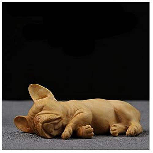 JINKEBIN Scultura Carino Bulldog Francese Statue Statuine Animali Intaglio Cane Arte Scultura Legno Arte & Artigianale Decorazione Della Casa Accessori