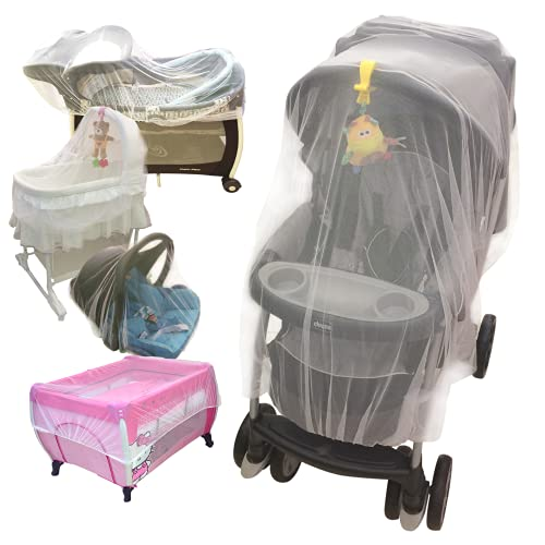 Croc n frog Baby Mosquito Net for Stroller, Crib, Pack n Play, Play Yard, Bassinet, Playpen   Mosquiteros para Cunas De Bebes   Stretchy, Durable and Breathable   Machine Washable (White)