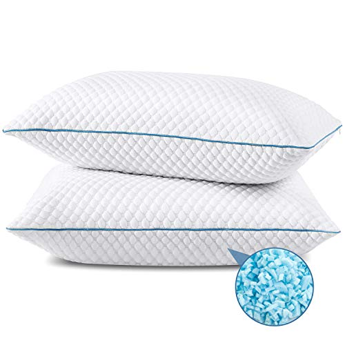 SENOSUR Shredded Memory Foam Pillows for Sleeping 2 Pack, Standard Size Cooling Bed Pillow with Washable Cover, Adjustable Gel Pillows for Stomach Side Back Sleepers, CertiPUR-US