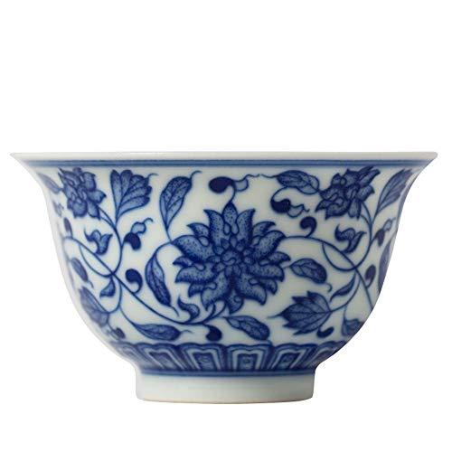 Xiang Ye Taza de té de loto azul y blanco pintada a mano de kung fu taza individual (color loto azul y blanco)