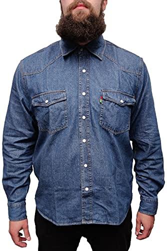 Duke - Camisa Casual - para Hombre - Blue Stonewash X-Large