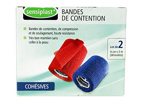 Sensiplast Kompressionsbandage, selbstklebend, 3 m x 6 cm, Blau / Rot, 2 Stück