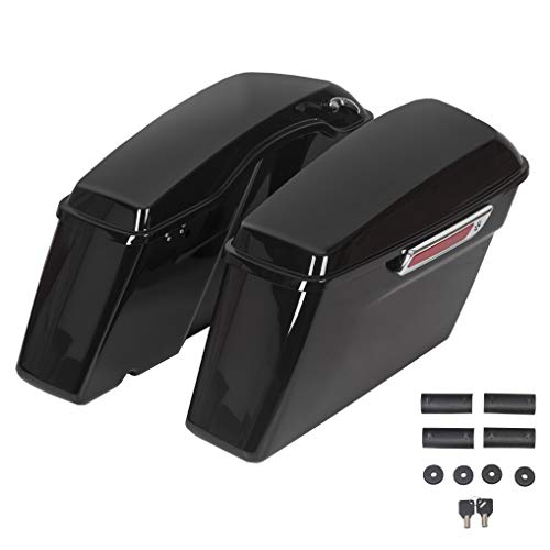 Hard Saddle Bags Trunk W/Lid & Latch Key Fits For Harley 1993-2013 Davidson Road King Glide Softail All Touring Models