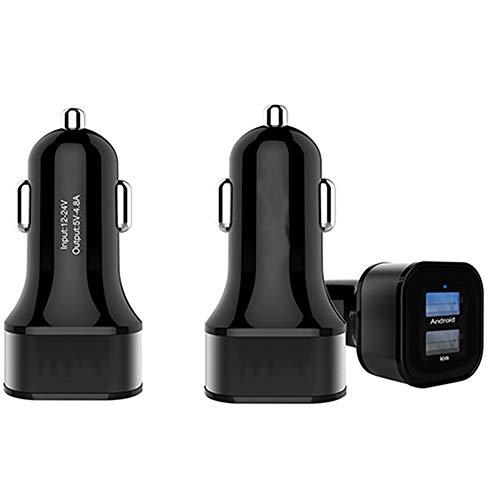 Kfz-Ladegerät, 12 W Mini-Metall-Schnellladeadapter Mit Zwei USB-Autoladegeräten Und Blauer LED Für iPhone/Android - Schwarz