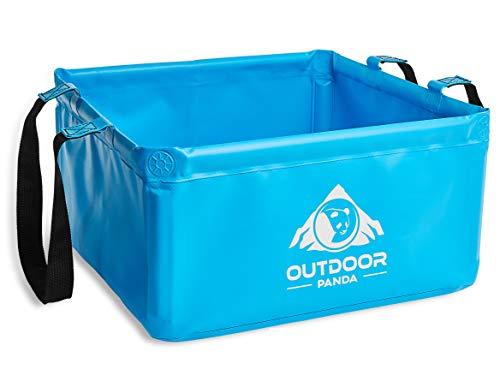 Outdoor Panda: Outdoor Faltschüssel 20 Liter | Faltbare Camping Waschschüssel aus langlebigem Planen Gewebe | Platzsparende und leichte Alternative zur Plastik Spülschüssel und Spülwanne (Blau 20L)