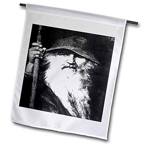 3dRose fl_78778_2 Odin Norse God, Mythology, Silhouette, Norway, Warrior, Barbarian Garden Flag, 18 by 27'