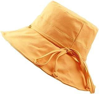 DIEBELLAU Girls Cotton Visor Hat Female Summer Travel Sun Hat Sunscreen Folding Bow Fisherman Hat Basin Cap (Color : Yellow, Size : 58CM)