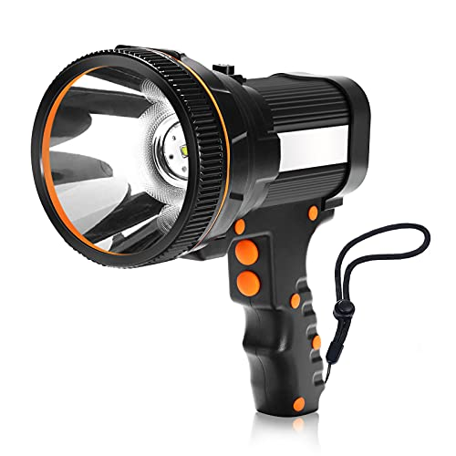MOZC Taschenlampe Wiederaufladbar 7800 Lumen 8-24h Beleuchtung 800M, LED Handscheinwerfer Tragbare IPX4 Wasserdicht für Outdoor, Abenteuer, Wandern, Notfall, mit Auto-Ladegerät (P-Typ, Schwarz)