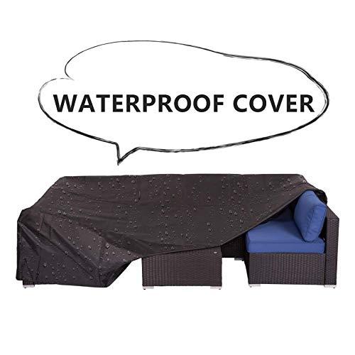 Kinsunny 7Pcs Wicker Rattan Sofa Weatherproof Protective Cover with Bag Black