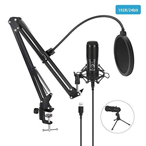 Jelly Comb Micrófono de Condensador USB Profesional 192KHZ/24Bit, Micrófono Kit podcast...