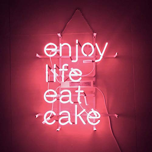 Mugua Pink ''Enjoy Life EAT Cake'' Beer Neon Sign 17' x 14' for Home Bedroom Pub Hotel Beach Recreational Game Room Decor Garage Wall Sign