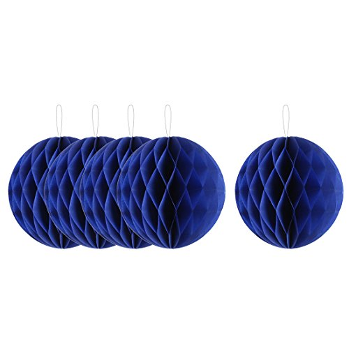 uxcell Paper Handmade Wall Door Window Hanging Lantern Honeycomb Ball 10 Inch Dia 5pcs Royal Blue