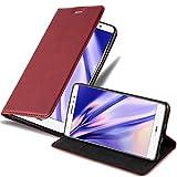Cadorabo Hülle für Huawei Mate S - Hülle in Apfel ROT – Handyhülle mit Magnetverschluss, Standfunktion & Kartenfach - Case Cover Schutzhülle Etui Tasche Book Klapp Style